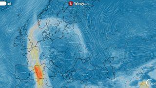Previsión de aerosol para el lunes. El domingo se verá más afectada España.