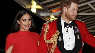 Britain's Prince Harry and Meghan, Duchess of Sussex arrive at the Royal Albert Hall in London on March 7, 2020.