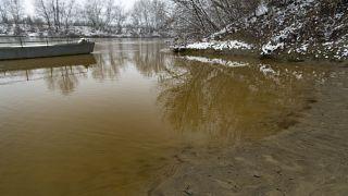 Lerakódott szennyeződés a part menti iszapban, Szamossályi határában a kompátkelőnél 2021. február 18-án.