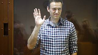 ussian opposition leader Alexei Navalny stands in a cage in the Babuskinsky District Court in Moscow
