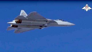 جت سوخو ۵۷ روسیه در آسمان سوریه