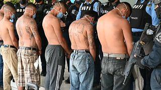 Mitglieder der Gang werden nach ihrer Festnahme den Medien präsentiert