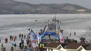 Der Startbereich des Eislaufs in Wladiwostok