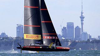 """Le défi italien """"Luna Rossa"""", qualifié pour la Coupe de l'America, Auckland (Nouvelle-Zélande), le 21/02/2021"""