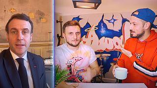 """Capture d'écran de la vidéo """"Le PRÉSIDENT DE LA RÉPUBLIQUE nous lance un défi. Voilà. Dinguerie ? Oui."""" sur la chaîne Youtube Mcfly et Carlito"""