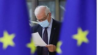 EU's top diplomat Josep Borrell arrives for the EU Foreign Ministers meeting in Brussels, on February 22, 2021