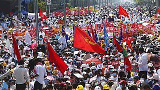 Protestas en Mandalay, Birmania.