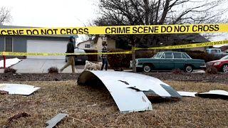 Restos del avión que sufrió el problema de motor en Colorado