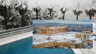 Nizza havas pálmafái 2011-ben és a havas Akropolisz 2021-ben