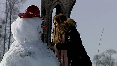 People have flocked to Korycin, Poland, to build snowmen for a very good cause