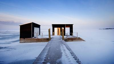 A sauna in the icy landscape of Finland
