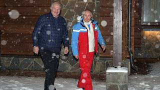 Russian President Vladimir Putin, right, and Belarusian President Alexander Lukashenko walk during their meeting at the Black Sea resort of Sochi, Russia, Feb. 22, 2021.