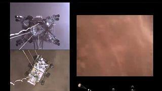 """Amerikan Uzay ve Havacılık Dairesi (NASA), """"Perseverance"""" adlı keşif aracının Mars'a iniş görüntülerini yayımladı."""
