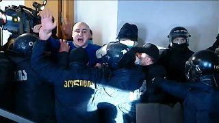Nika Melia lors de son arrestation ce mardi 23 février - capture d'écran
