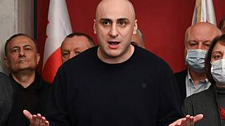Nika Melia, chairman of the United National Movement opposition party speaks during a news conference in Tbilisi, Georgia, in October, 2020.