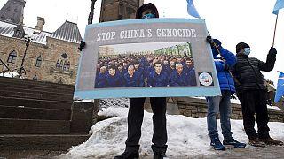 Manifestation en faveur des Ouïghours devant le parlement canadien, 22 février 2021