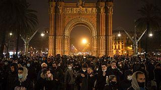 Séptima noche de protestas en Barcelona