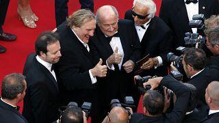 Gérard Depardieu en compgnie de Sepp Blatter et Frederic Auburtin lors du 67ème festival de Cannes, le 18 mai 2014, France