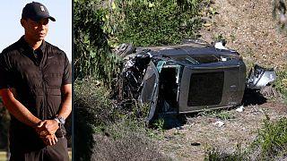 Imagem de arquivo do golfista e foto atual do veículo após o acidente