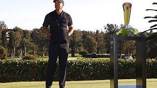 Tiger Woods lors de la remise de prix du tournoi Genesis Invitational à Los Angeles le 21 février 2021