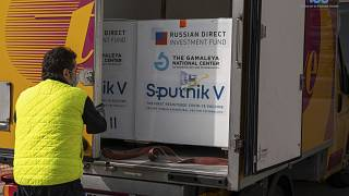 Boxes containing Russian vaccine Sputnik V are unloaded in San Marino, Tuesday, Feb. 23, 2021.