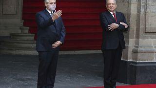 Alberto Fernández y Andrés Manuel López Obrador durante la visita del presidente argentino a México