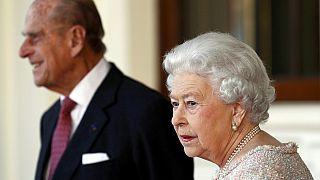 A királynő és Fülöp herceg 2016-ban a kolumbiai elnök látogatásakor
