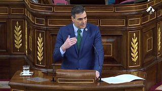 El presidente del Gobierno, Pedro Sánchez, en el Congreso de los Diputados. Madrid, España
