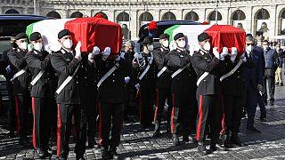 Cercueils de l'ambassadeur Luca Attanasio et du carabinier Vittorio Iacovacci, 25 février 2021