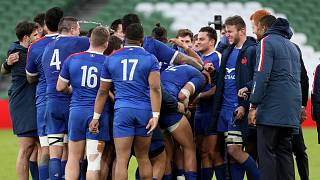 French players celebrate at the end of the Six Nations rugby union match between Ireland and France Aviva Stadium, Dublin, Sunday, Feb. 14, 2021.