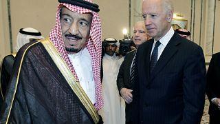 In this Oct. 27, 2011 photo, then U.S. VP Joe Biden, right, offers his condolences to then Prince Salman bin Abdel-Aziz upon the death of his brother in Riyadh, Saudi Arabia.