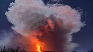 El volcán Etna en plena erupción esta semana