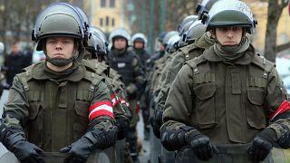 El ejército austriaco se movilizó durante el pico de la crisis migratoria en 2016 en la frontera eslovena-austriaca cerca de Spielfeld (distrito de Leibnitz, Estiria).
