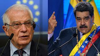 À gauche, le représentant européen à la politique étrangère Josep Borrell. À droite, le président vénézuélien, Nicolas Maduro.