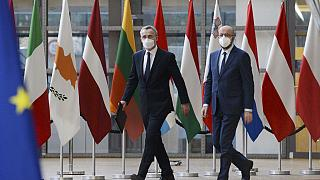 NATO Secretary General Jens Stoltenberg and European Council President Charles Michel