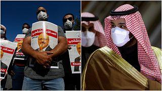 ولي العهد السعودي محمد بن سلمان (يمين) مظاهرة تطالب بتحقيق عادل في مقتل الصحفي جمال خاشقجي (يسار)