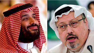 Saudi Arabia's Crown Prince Mohammed bin Salman, left, and, right, murdered journalist Jamal Khashoggi