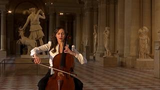 Cellist Camille Thomas fills empty Louvre with classical music