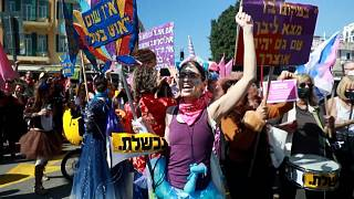 Israelis in Bnei Brak mark the Jewish holiday of Purim