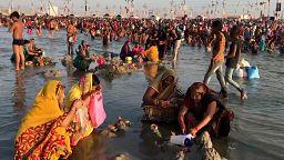 Millions take sacred dip during India's Magh Mela bathing festival