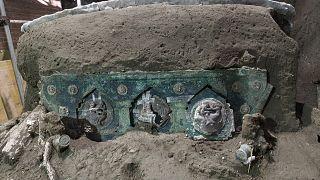 بخشی از درشکه کشف شده در شهر باستانی پمپئی