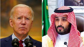 ABD Başkanı Joe Biden (solda), Suudi Arabistan Veliaht Prensi Muhammed Bin Selman (sağda)