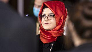 Hatice Cengiz, the fiancee of slain Saudi journalist Jamal Khashoggi in Zurich, Switzerland, Oct. 2, 2020.