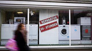Geschäft, das die Reparatur von elektronischen Geräten und Haushaltsgeräten anbietet, Berlin, 26.02.2021