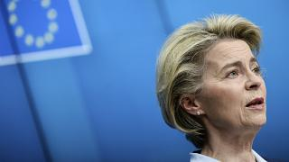 European Commission President Ursula von der Leyen speaks during a media conference at the end of an EU summit in Brussels, Feb. 26, 2021.