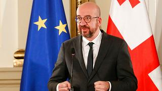 European Council President Charles Michel speaks during a joint news briefing with Georgia's President Salome Zurabishvili in Tbilisi,