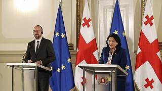 Georgian President Salome Zurabishvili and European Council President Charles Michel during their meeting in Tbilisi