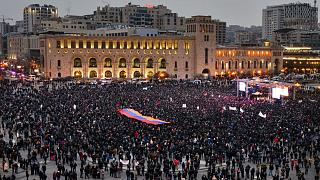 Supporters of Armenian Prime Minister Nikol Pashinyan also gathered in the centre of Yerevan on Monday