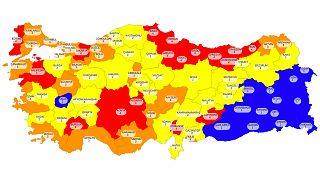 Türkiye'de Covid-19: İllerin risk değerlendirme haritası