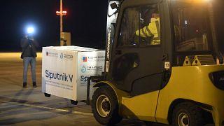 Russia's Sputnik V coronavirus vaccine arrives at Kosice Airport, Slovakia, Monday March 1, 2021.